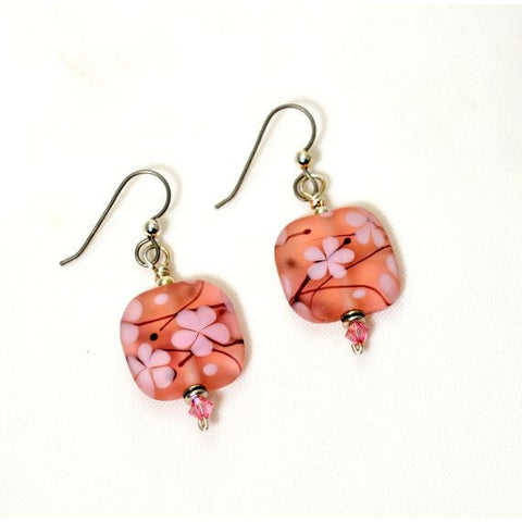 LAMPWORKED GLASS CHERRY BLOSSOM EARRINGS - Side Street Studio