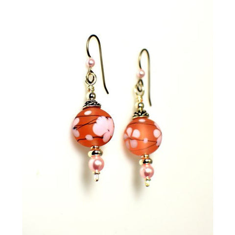 LAMPWORKED GLASS PINK CHERRY BLOSSOM EARRINGS - Side Street Studio