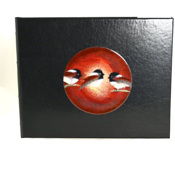 CHICKADEE DESIGN COPPER ENAMELED LEATHER GUEST BOOK - Side Street Studio