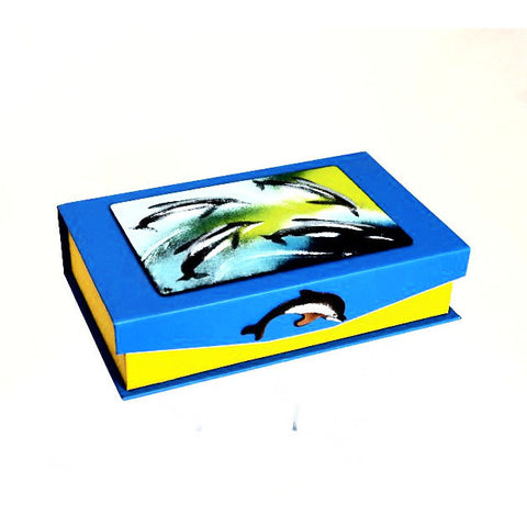 DOLPHIN DESIGN ENAMELLED NOTE BOX - Side Street Studio - 1