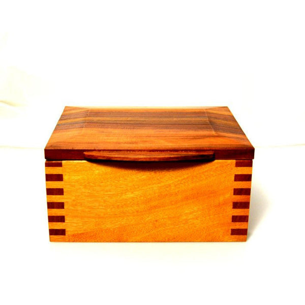 PLUM AND BEECH WOOD JEWELLERY BOX
