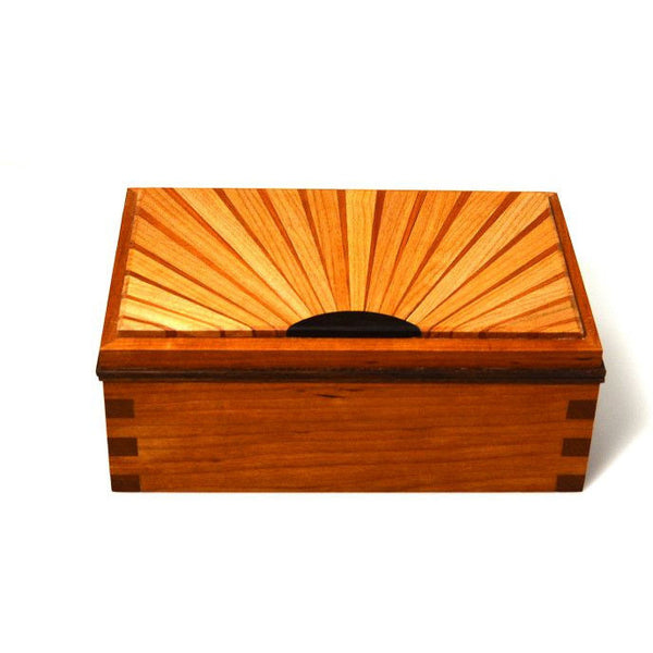 CHERRY AND MAPLE WOOD SUNRAY JEWELLERY BOX