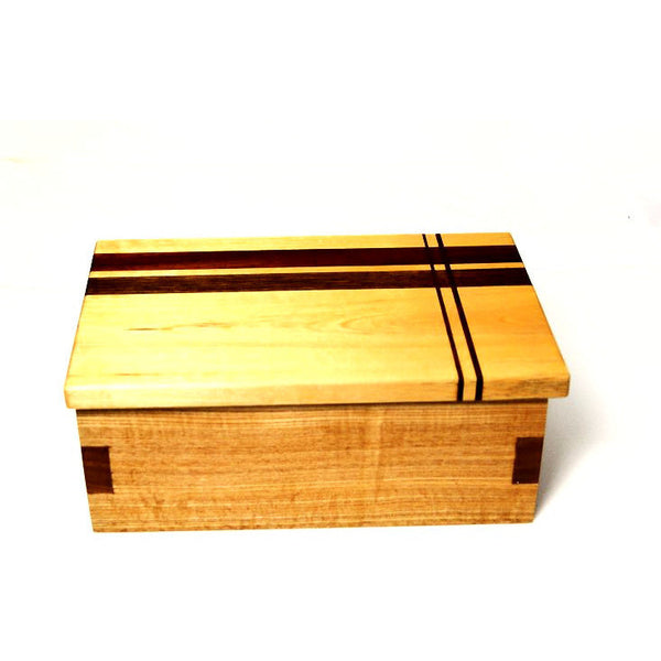 BEECH MAHOGANY AND WALNUT WOOD JEWELLERY BOX