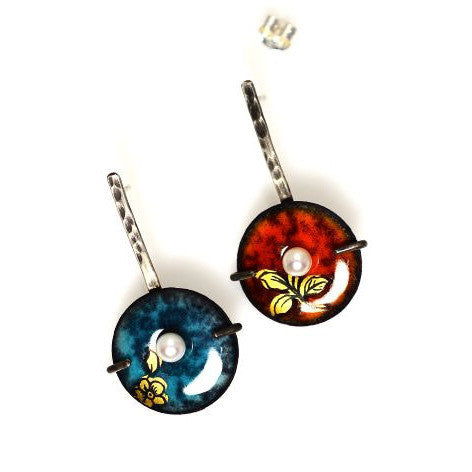 STERLING SILVER, ENAMEL AND PEARL LOLLIPOP EARRINGS - Side Street Studio