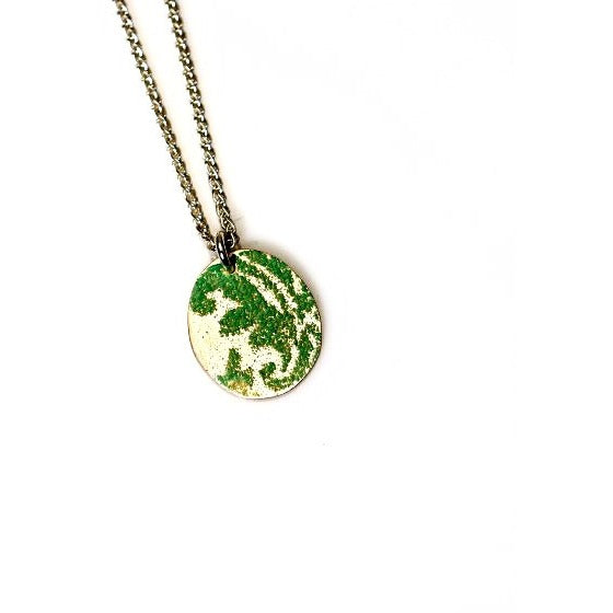 STERLING SILVER AND SEAFOAM ENAMEL NECKLACE