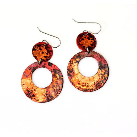 Copper Wilma Earrings, 2 inches - Side Street Studio