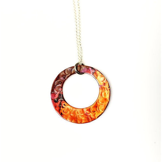 COPPER HOOP PENDANT NECKLACE - Side Street Studio