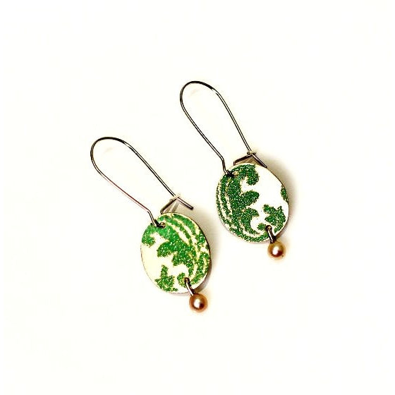 Sterling silver and seafoam enamel with pearl earrings