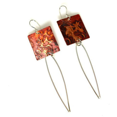 COPPER WING RECTANGULAR EARRINGS - Side Street Studio