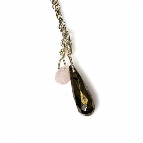 PROTECTIVE  PYRITE AND ROSE QUARTZ NECKLACE - Side Street Studio