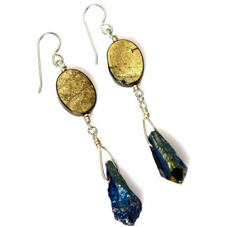 PYRITE AND TITANIUM QUARTZ EARRINGS - Side Street Studio