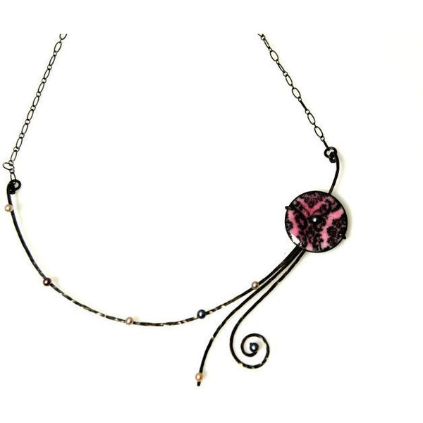 CHERRY BLOSSOM STERLING SILVER AND ENAMEL NECKLACE - Side Street Studio