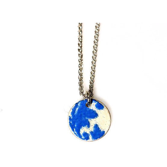 STERLING SILVER AND BLUE ENAMEL NECKLACE - Side Street Studio