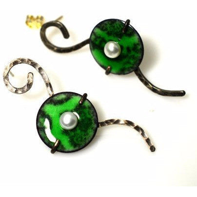 QUITE CONTRARY STERLING SILVER ENAMEL & PEARL EARRINGS - Side Street Studio