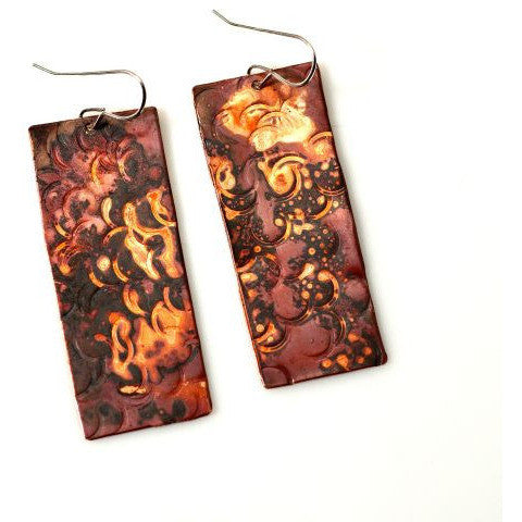 Copper Bold Rectangle Earrings - Side Street Studio