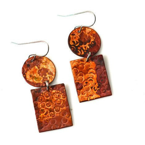 Copper sticks and stones earrings, 1 3/4 inches - Side Street Studio