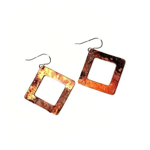 Copper Diamond Shaped Earrings, 1 3/4 inches - Side Street Studio