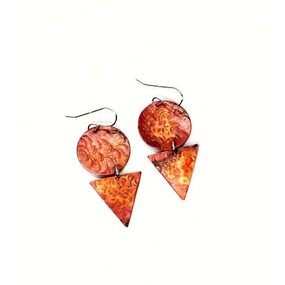 Copper stones and cones earrings
