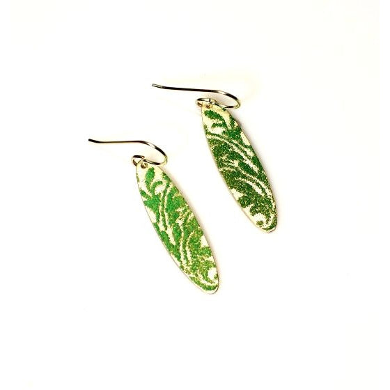 Sterling silver and seafoam enamel earrings