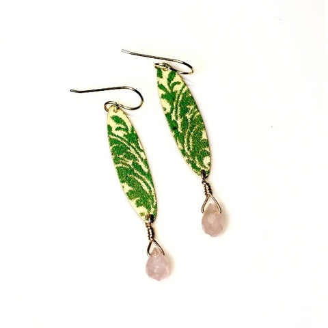 Sterling silver and enamel with rose quartz earrings