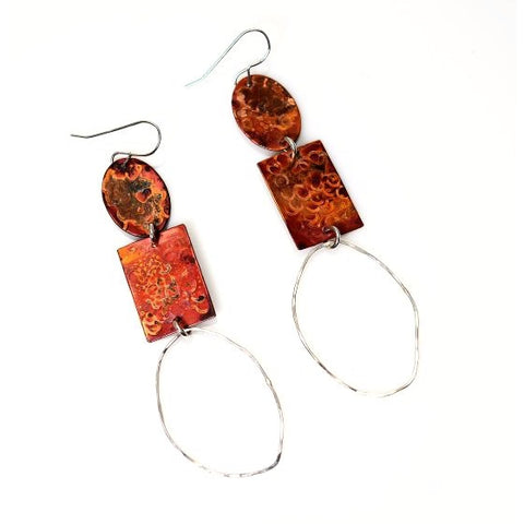 TRIPLE SHAPE COPPER AND STERLING SILVER EARRINGS