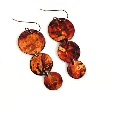 Copper Triple Droplets Earrings - Side Street Studio