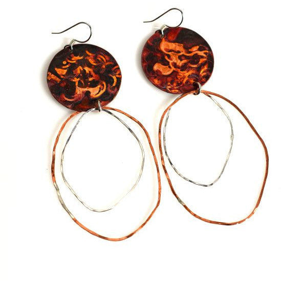 COPPER DANGLE EARRINGS - Side Street Studio - 1