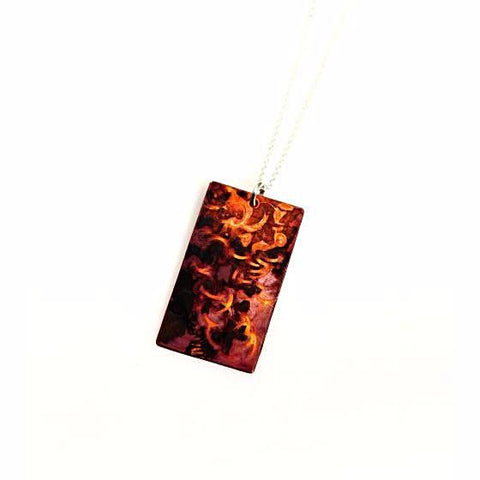 Copper Small Rectangle Pendant Necklace - Side Street Studio