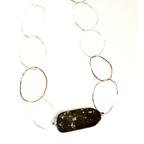 Copper and sterling silver linx with pyrite pendant necklace - Side Street Studio