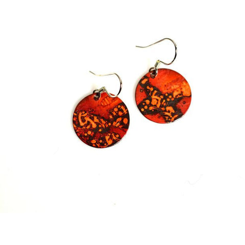 Copper tiny circle earrings, 1/2 inch - Side Street Studio