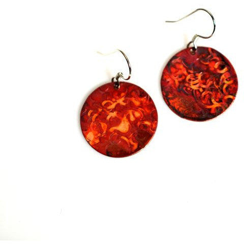 Copper circle earrings, 1 inch - Side Street Studio