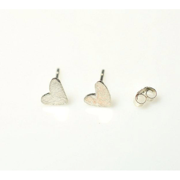 TEENY SCRATCHED UP HEART EARRINGS - Side Street Studio