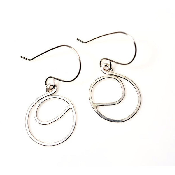CIRCLE TORNADO STERLING SILVER EARRINGS - Side Street Studio