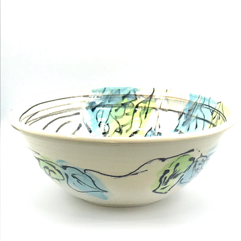 Green and Blue Leaf Medium Bowl