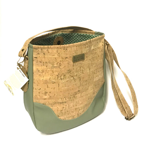 Cork Bucket Style Purse Sage Faux Leather and Cork