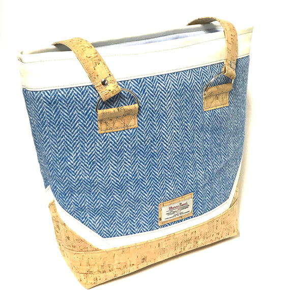 Vegan Tote Bag in Cork and Harris Tweed Design with Zipper