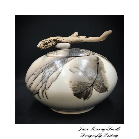 Horsehair and Feather Decorative Pot