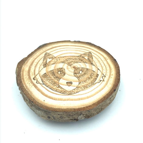 Wood Burned West Coast Magnet - Raccoon
