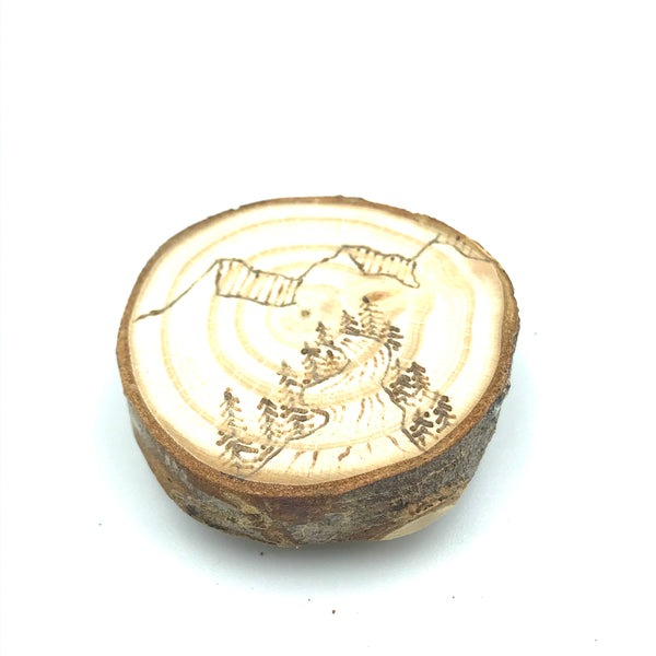 Wood Burned West Coast Magnet - Mountains