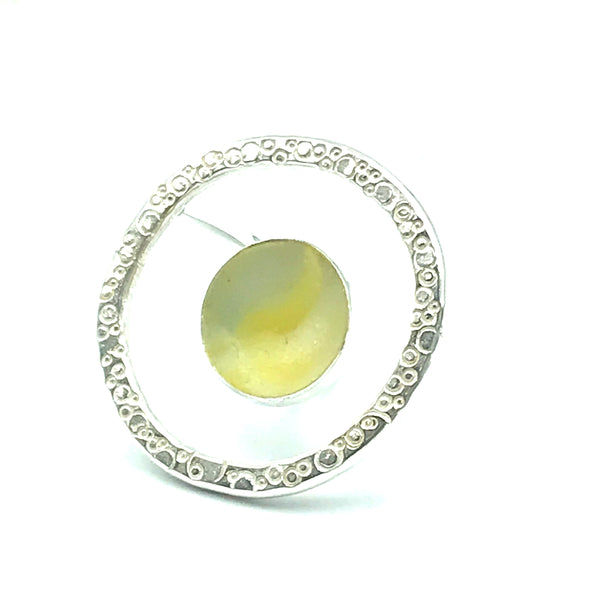 Yellow Sea Glass Marble in Silver Orbit Ring