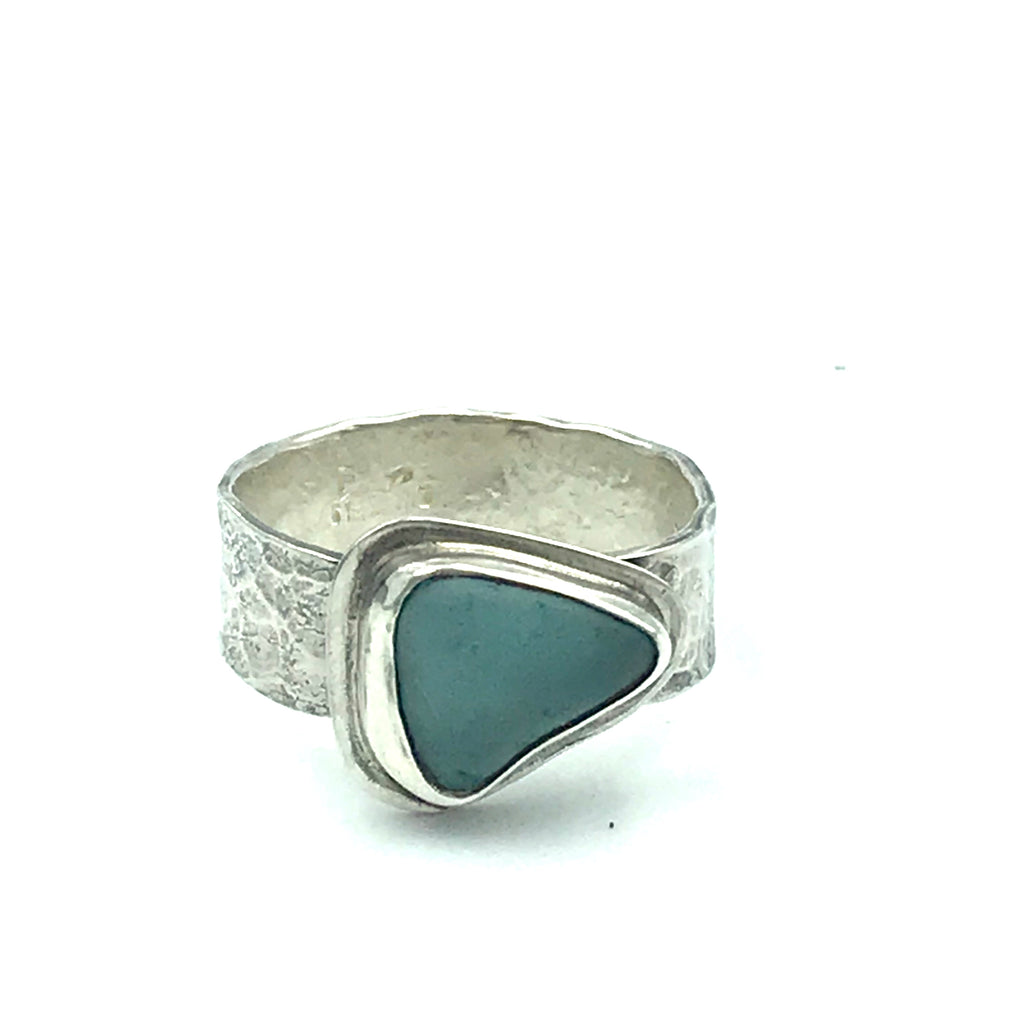 Rare Turquoise Sea Glass Ring with Hammered Band