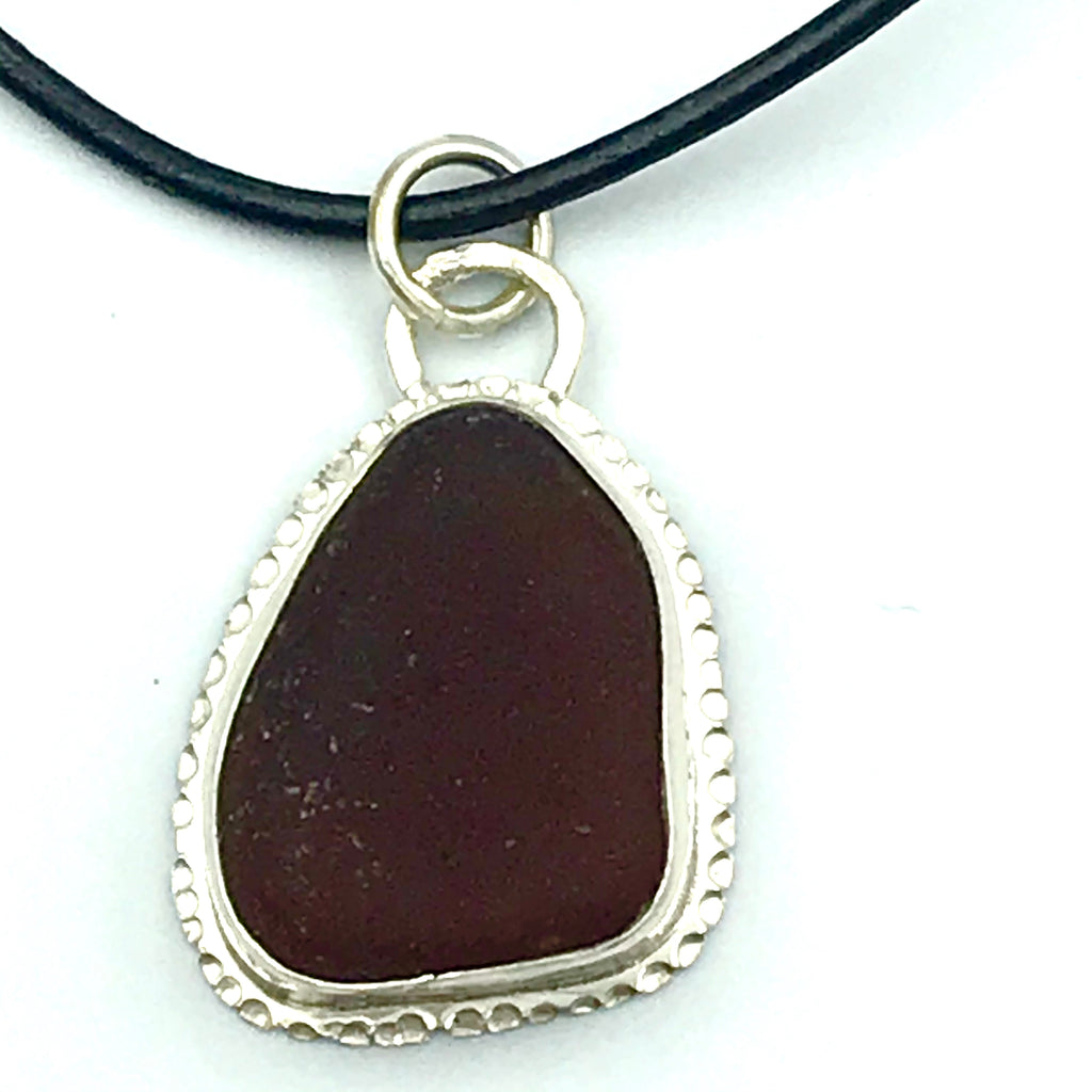 Brown Seaglass Pendant on Rubber Cord