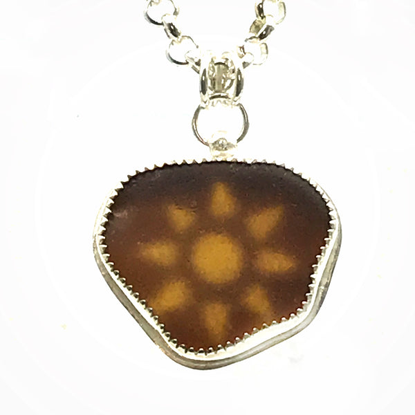 Brown Seaglass Pendant with Sunshine Peekaboo on Silver Filled Commercial Chain
