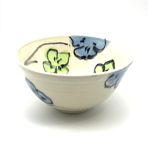 Blue and Green Floral Medium Bowl