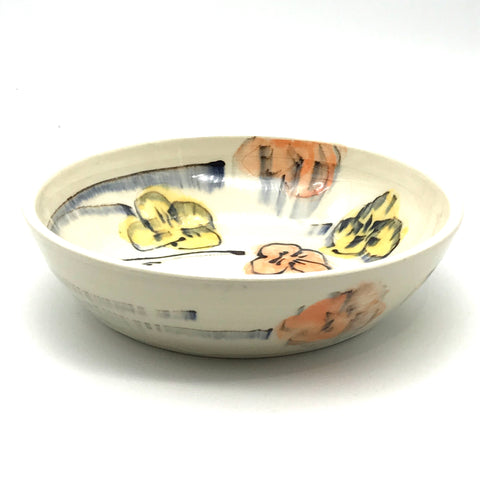 Orange and Yellow Floral Soup Bowl