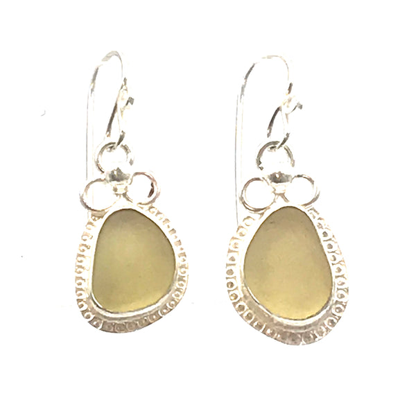 Rare Pale Yellow Sea-glass Earrings with Trillium Adornment