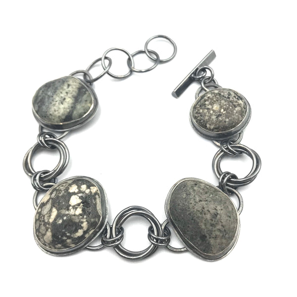 West Coast Beach Stones Silver Bracelet with Triple Russian Links