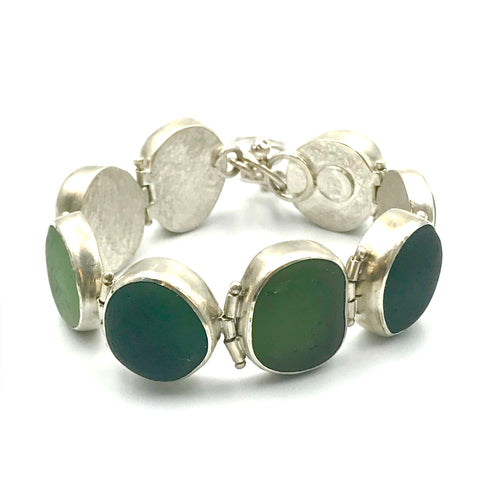 Green Sea Glass Hinged Silver Bracelet