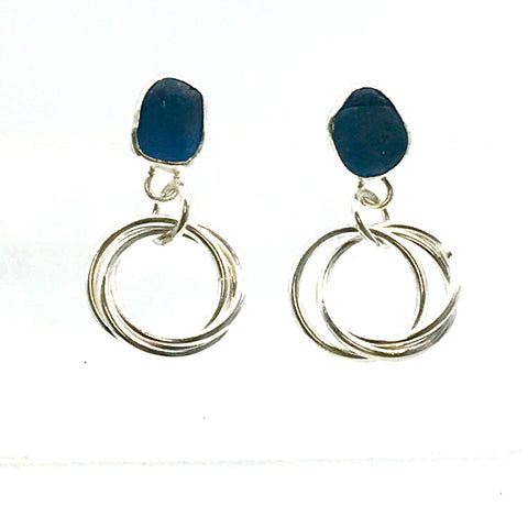 Cornflour Blue Sea-glass Stud Earrings with Triple Russian Links