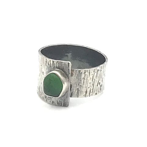 Adjustable Green Sea Glass Ring